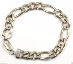 VINTAGE MENS FIGARO STYLE CHUNKY CHAIN BRACELET 925 STERLING BR 1390 - $65.03