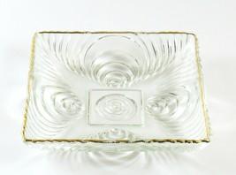 Vintage Hazel Atlas Soundwave Gold Trim Depression Glass Square Candy Dish - $14.84