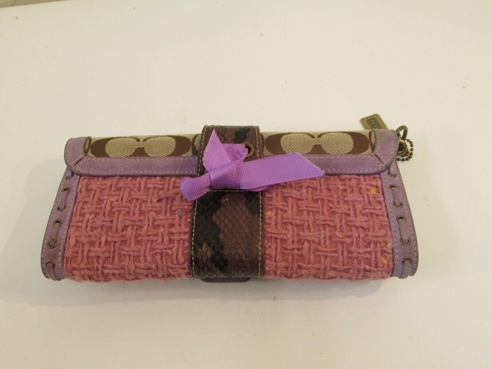 Coach Wristlet Tweed Purple Suede Wallet Buckle Handbag Clutch Monogram C image 5
