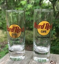 Lot of 2 Hard Rock Cafe Collector Gatlinburg Cozumel Tall Shot Glass Jig... - $17.60