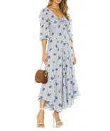 Free People Sea Glass Maxi Dress Blue Combo Floral Boho Size 6 - New Small Flaw - £31.08 GBP