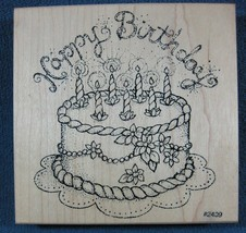 Happy Birthday Cake 2409 Large Comotion Rubber Stamp Wood Mounted - $9.95