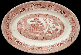 Vintage Restaurant Ware Sterling China Wellsville OH Platter Red Willow ... - $32.99
