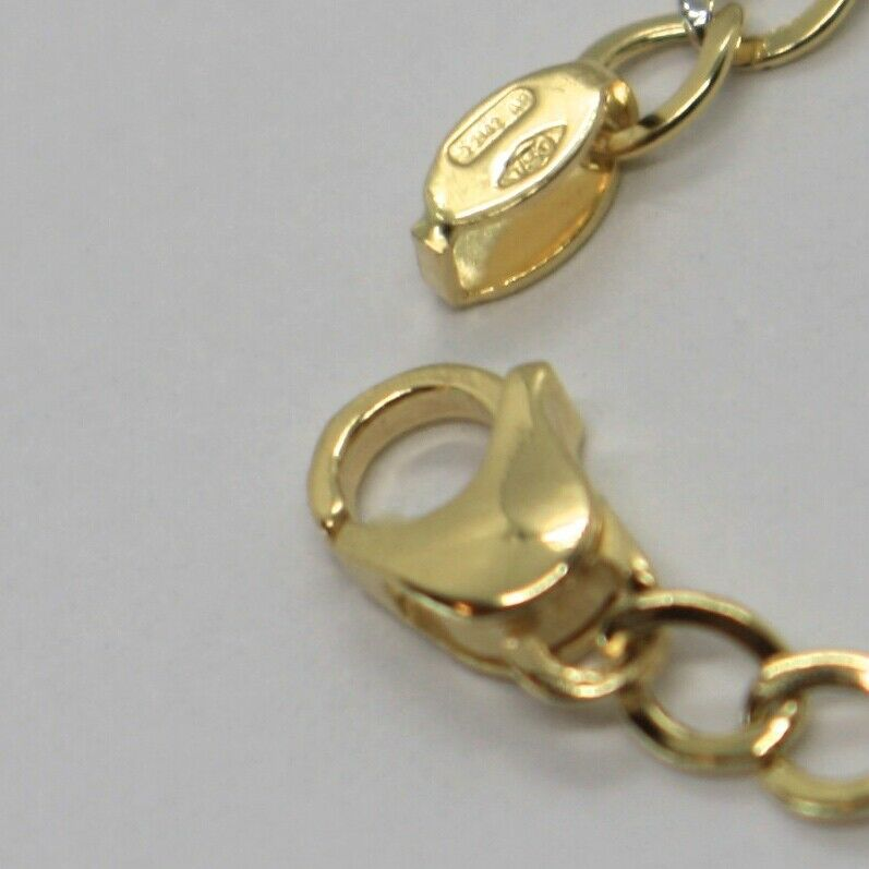 Bracelet Yellow and White Gold 18K 750, Curb and Double Ovals Alternating, 3 MM image 4
