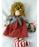 "Folk Art Primitive Angel Rag Doll Curly hair 13.5"" Cute face colorful - $19.79"