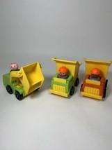 Fisher Price Vintage Little People Construction Lot 3 Vehicles & Men Dum... - $20.95