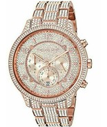 NEW AUTHENTIC MICHAEL KORS RUNWAY ROSE GOLD CRYSTALS PAVE WOMEN'S MK6635... - $119.99