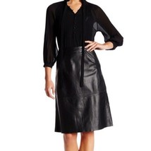 French Connection Genuine Lamb Leather Skirt 4 Black Women's Midi Real - $32.71