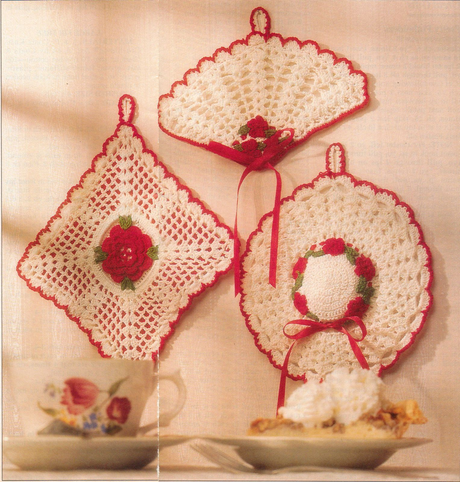 Primary image for Crochet Rose Square Fan Hat Tropical Fish Openwork Scallop Potholder Pattern