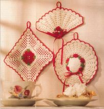 Crochet Rose Square Fan Hat Tropical Fish Openwork Scallop Potholder Pattern - $6.99