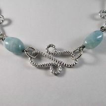 ALUMINUM NECKLACE WITH BLUE AQUAMARINE HAND-MADE IN ITALY 21 INCHES LONG image 3