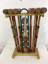 Vtg 50s Mid Century 6 Player Wood Striped Balls Stand Caddy Complete Cro... - $147.51