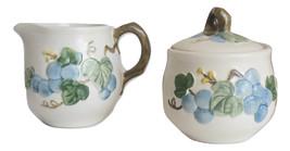 Vintage Poppytrail Metlox Creamer Sugar Bowl Lid Sculptured Grapes in Blue - $22.95