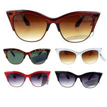 Womens High Point Squared Half Rim Look Cat Eye Retro Designer Sunglasses - $7.87+