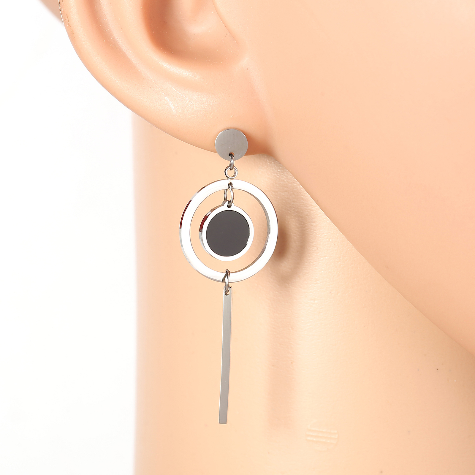Primary image for Silver Tone Designer Drop Earrings, Jet Black Faux Onyx Circle & Dangling Bar