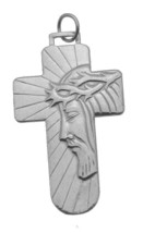NICE Sterling Silver 925 charm Jesus face Crown of thorns Divine Mercy J... - $27.58
