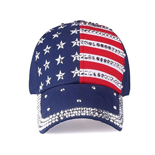 USA Flag Hat - Blue Rhinestone Adjustable Womens Cap - Red/White/Blue