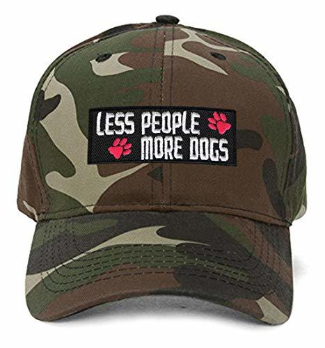 Less People More Dogs Hat - Adjustable Cap For A Dog Fan (Camo)