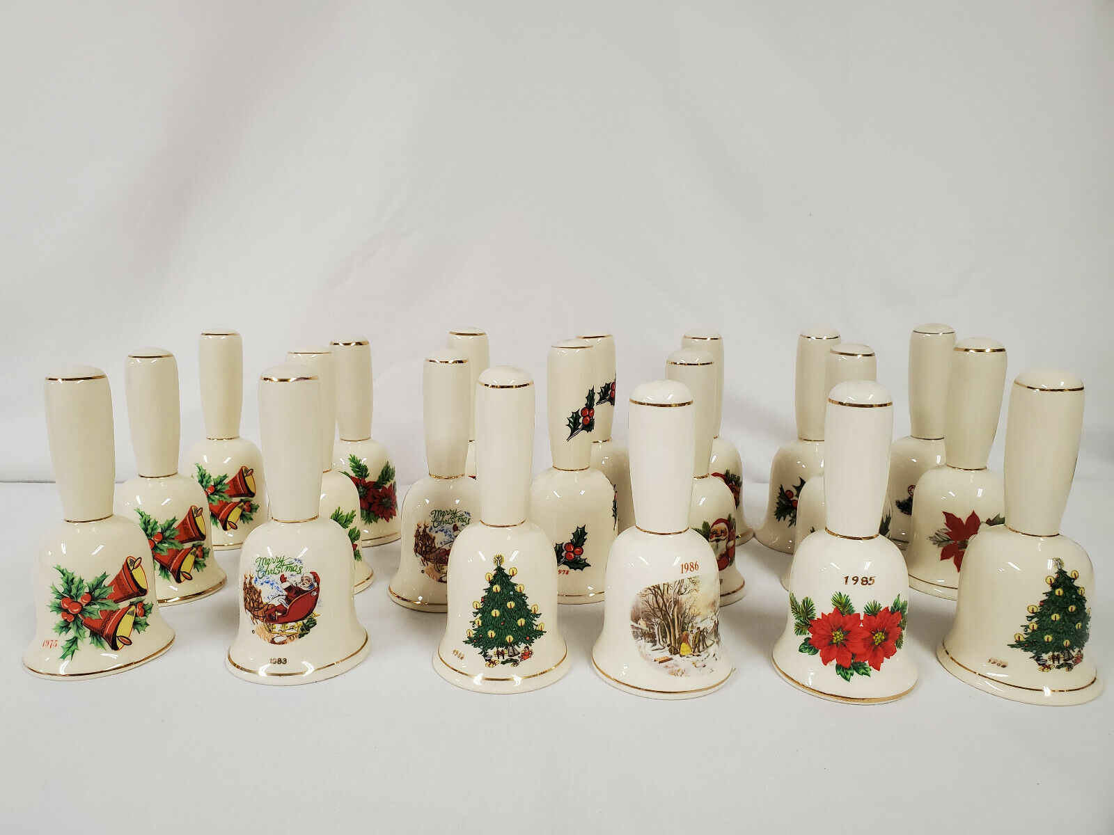 Primary image for ORIGINAL Vintage Lot of (20) Ceramic Christmas Bells 1975-1985