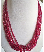 NATURAL RED SPINEL BEADS CABOCHON 7 LINE 368 CARATS GEMSTONE FINEST NECK... - $2,470.00