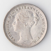 1875 Great Britain Threepence (About Uncirculated AU England 3 Pence KM#730 - $102.02