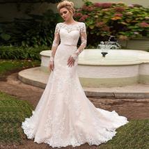 Elegant Long Sleeves Lace Bride Dresses Scoop Neck Lace-up back Tulle Mermaid We