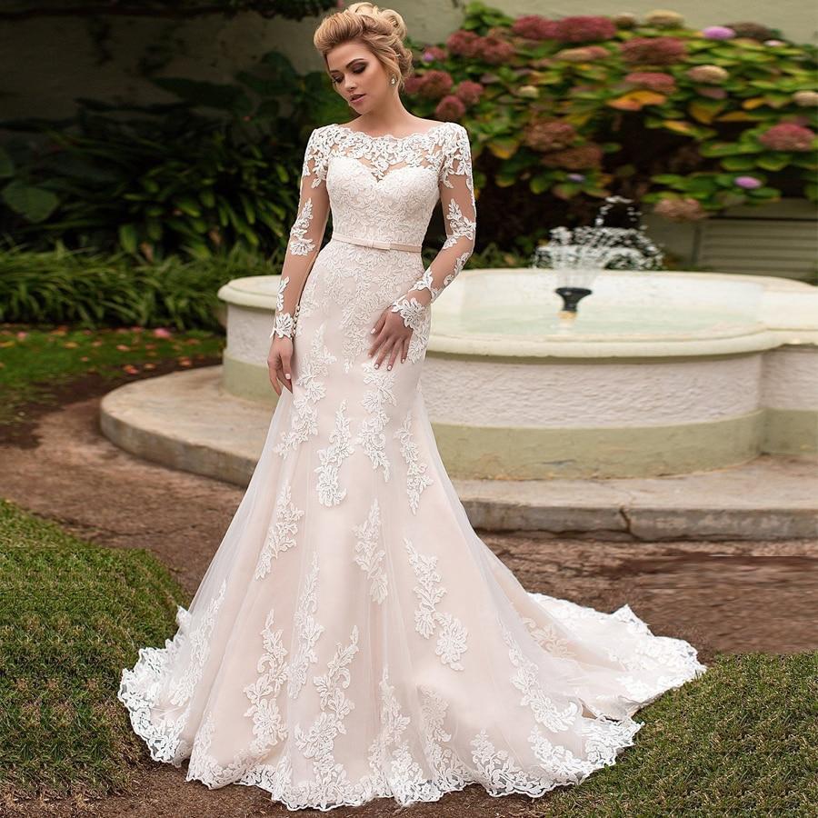 Gong elegant long sleeves lace bride dresses scoop neck lace up back tulle mermaid wedding dress