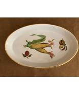 Royal Worcester Evesham oval gold baking porcelain dish ear of corn apples - $54.50