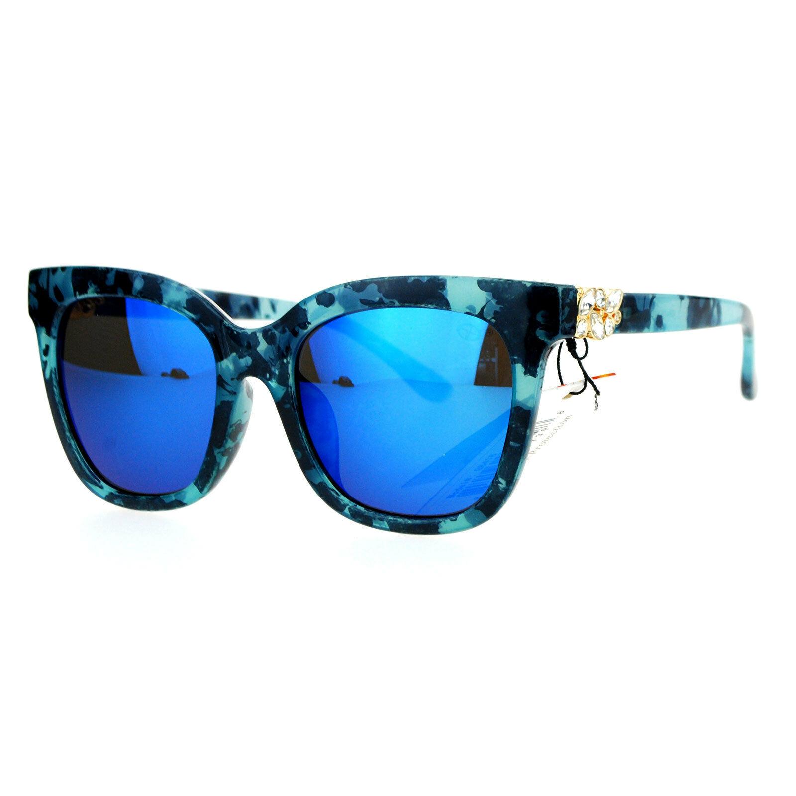 Designer Fashion Womens Sunglasses Rhinestone Accent Square Frame UV 400
