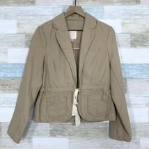 Old Navy Utility Safari Jacket Tan Khaki Drawcord Pockets Cotton Womens ... - $24.74