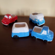 Vehicle Planters, set of 4 ceramic plant pots, RV Camper Blue Red Truck, VanLife