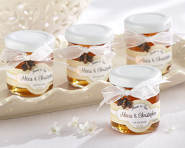 24 Meant to Bee Honey Jar Bridal Wedding Favors w/ Bow & Charm Personalized - $94.00