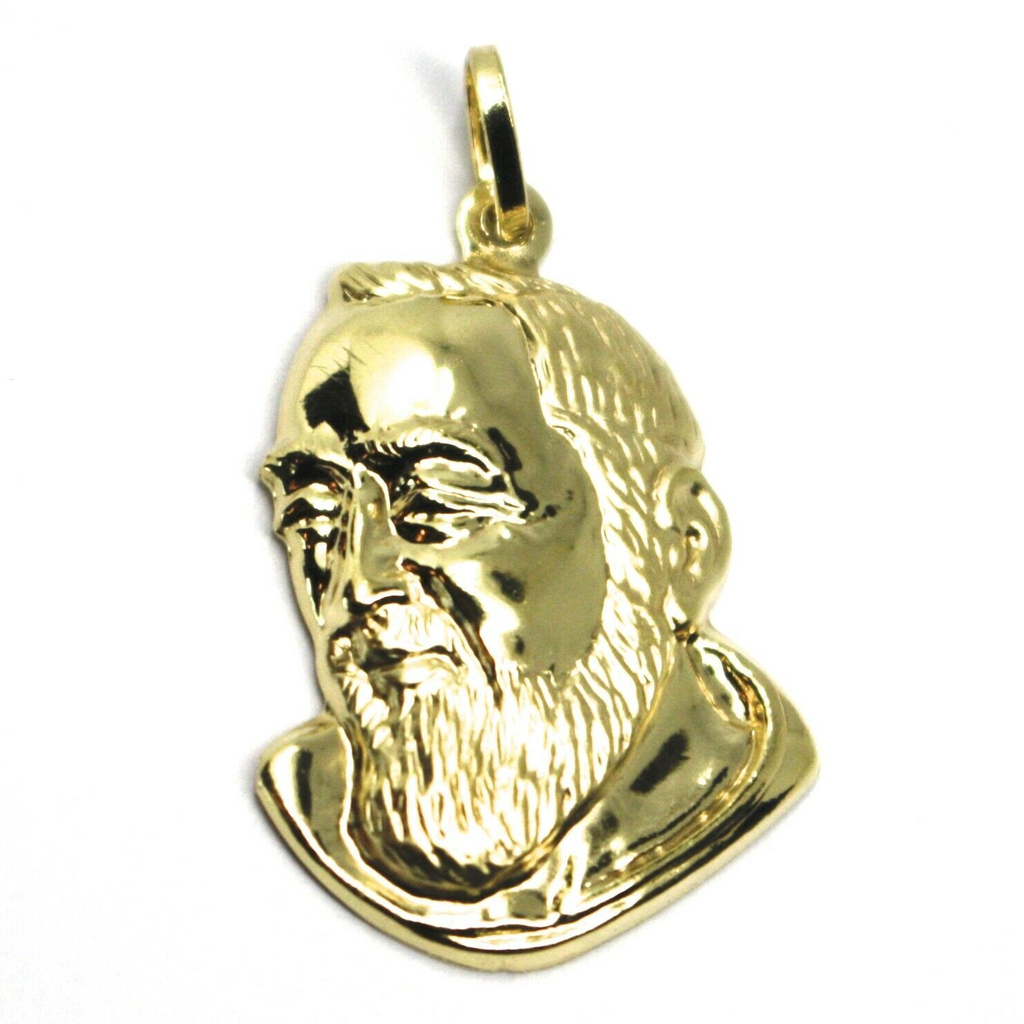 18K YELLOW GOLD PENDANT, SAINT PIO OF PIETRELCINA FACE, 29mm SATIN VERY DETAILED