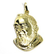 18K YELLOW GOLD PENDANT, SAINT PIO OF PIETRELCINA FACE, 29mm SATIN VERY DETAILED image 1