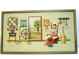 """Vintage Needle Point Framed Art Pioneer Woman 19th Century Woman 19x11.5"""" - £24.28 GBP"""