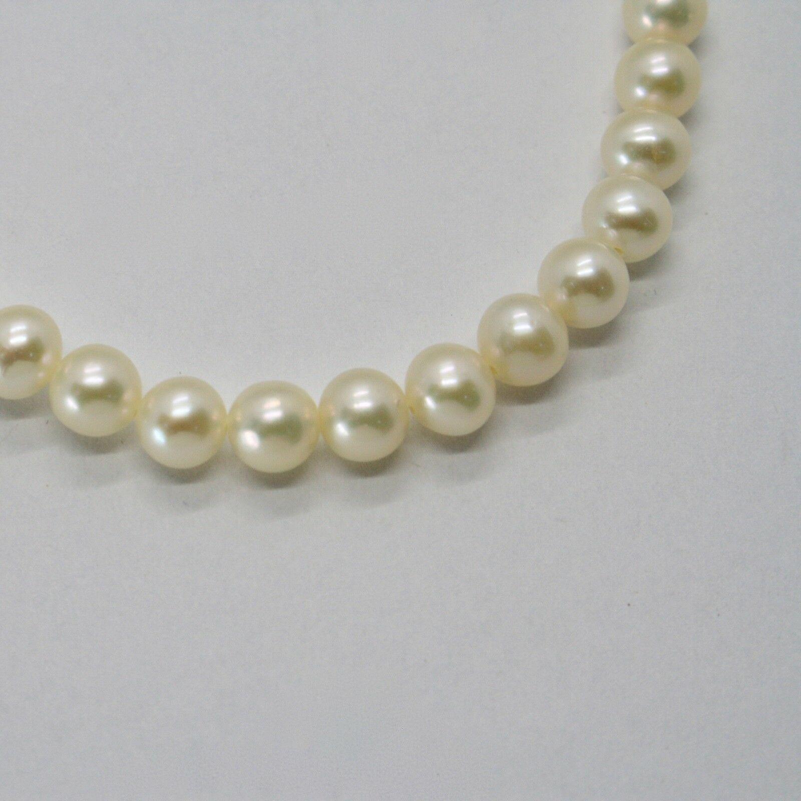 Bracelet en or Blanc 18KT et Argent 925 avec Perles 5.5 6 mm Beau Boîte image 6