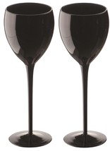 Artland Midnight Black 11 Ounce Stemmed Goblets Set Of 2 NEW - $25.00