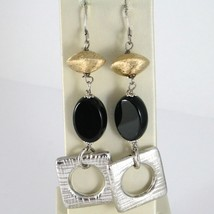 Boucles D'Oreilles en Argent 925 Rhodié Pendentifs avec Onyx Noir Ovale Polie image 1