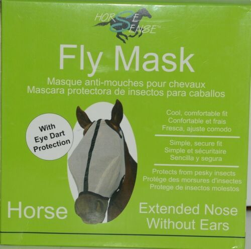 Horse Sense 101EX Fly Mask Eye Dart Protection Extended Nose Without Ears