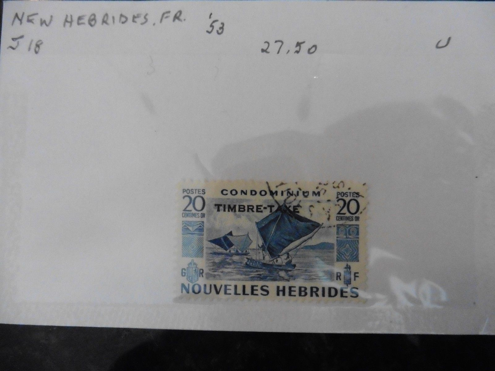 G56 Stamps New Hebrides French 1953 Outrigger Sailing canoes 20c Concord 1976 +