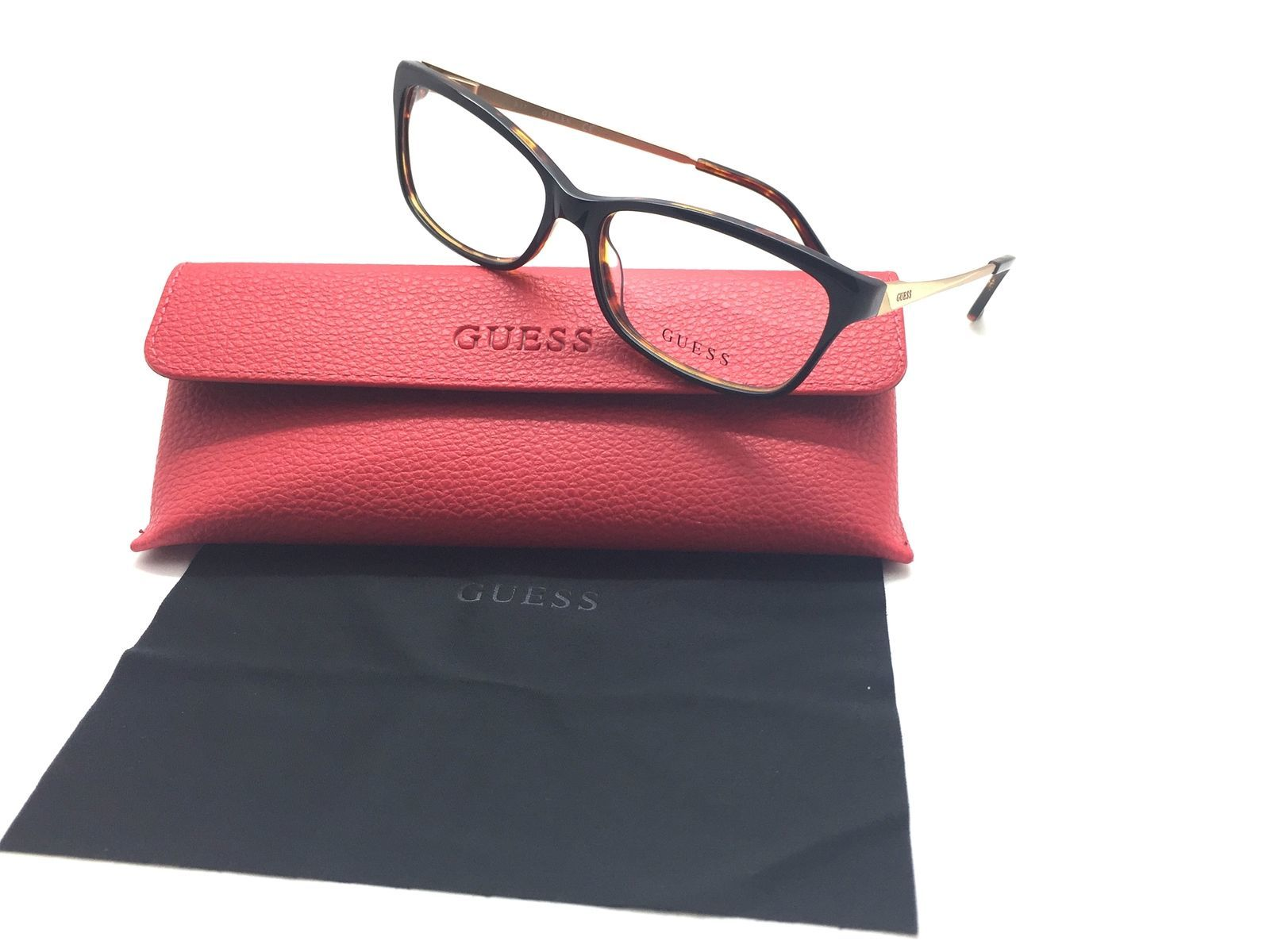GUESS GU2635 001 BLACK New Cat Eye Optical Eyeglass Frame For Women