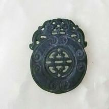 Vintage Carved Jade Dragon Medallion Pendant Good Luck Charm Great Gift ... - $34.15