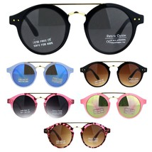 Girls Kid Size Mod Plastic Retro Designer Round Circle Lens Sunglasses - $9.95