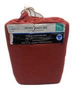 MainStays 3 Pc Twin/Txl Jersey Sheet Set -- New Red Extra Soft breathabl... - $30.64