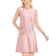 Pink Suede Leather Dress For Women