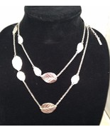New Cookie Lee Necklace w/ Silvertone Chain and Leaves. Wear Long or Dou... - $11.71