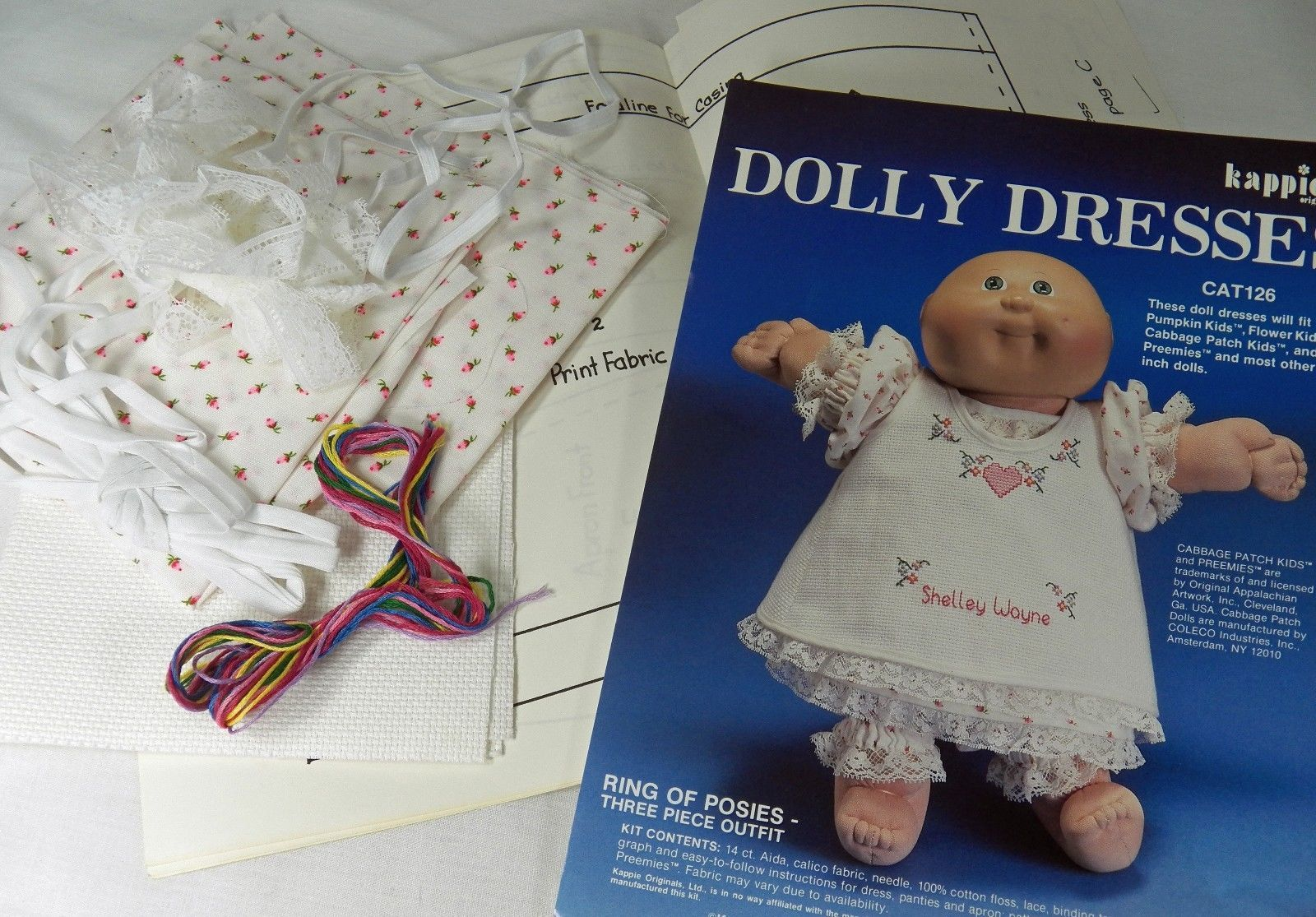 "Kappie Dolly Dress Kit Cabbage Patch 16"" Dolls 3 pc Ring of Posies Cross Stitch"