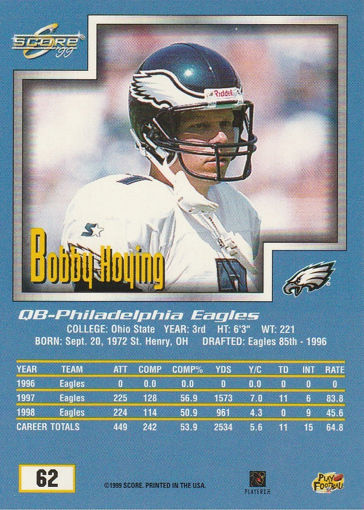 1999 Score #62 Bobby Hoying