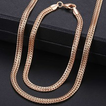 Women's Jewelry Sets 585 Rose Gold Necklace Bracelet Set Braided tail Li... - $14.29