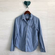 Gap 1969 Medium Blue Chambray Cotton Button Up Pocket Front Blouse Top Womens - $17.96